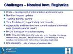 challenges nominal imm registries