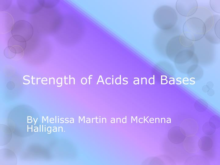 strength of acids and bases n.