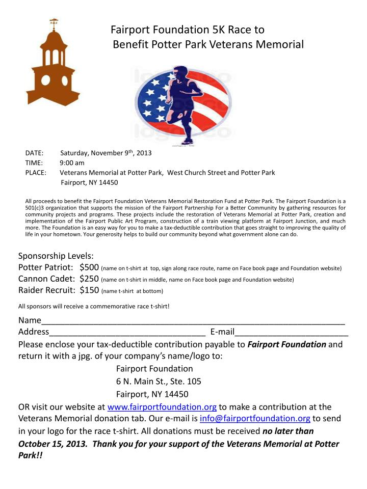 zz faf fairport foundation 5k race to b benefit potter park veterans memorial n.