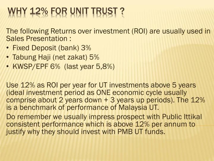 The following Returns over investment (ROI) are usually used in Sales Presentation :