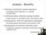 analysis benefits