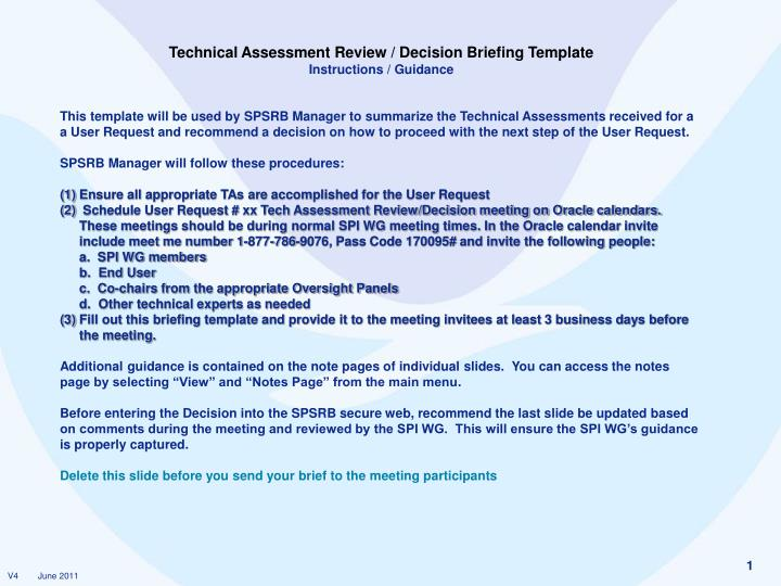 Ppt Technical Assessment Review Decision Briefing Template