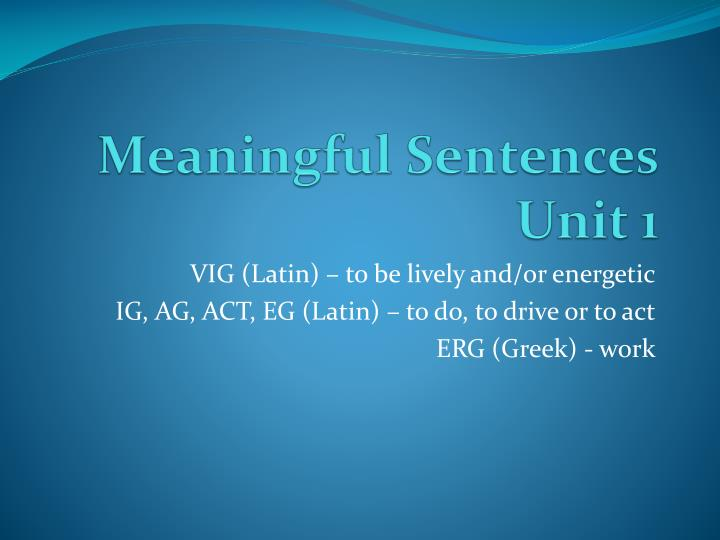 meaningful sentences unit 1 n.