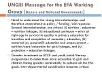 ungei message for the efa working group donors and national governments