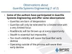 observations about guerilla systems engineering 1 of 2