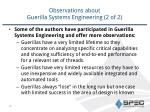 observations about guerilla systems engineering 2 of 2