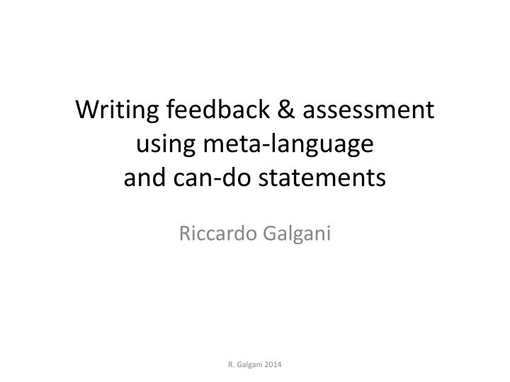 writing feedback assessment using meta language and can do statements n.