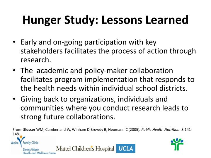 Hunger Study: Lessons Learned