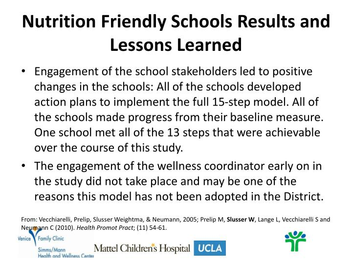 Nutrition Friendly Schools Results and Lessons Learned