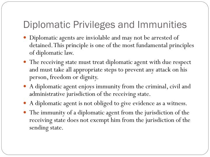 a study of diplomatic immunities and privileges