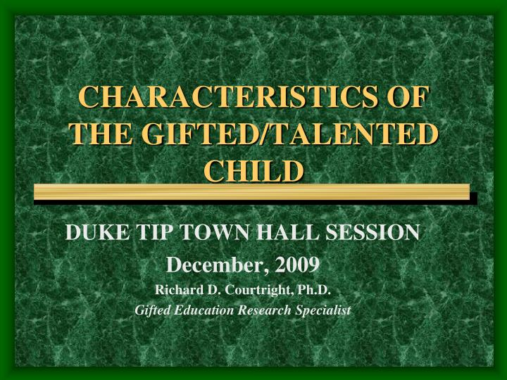characteristics of the gifted talented child n.