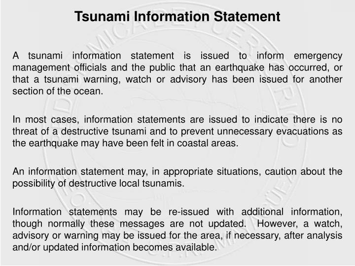 Tsunami Information Statement