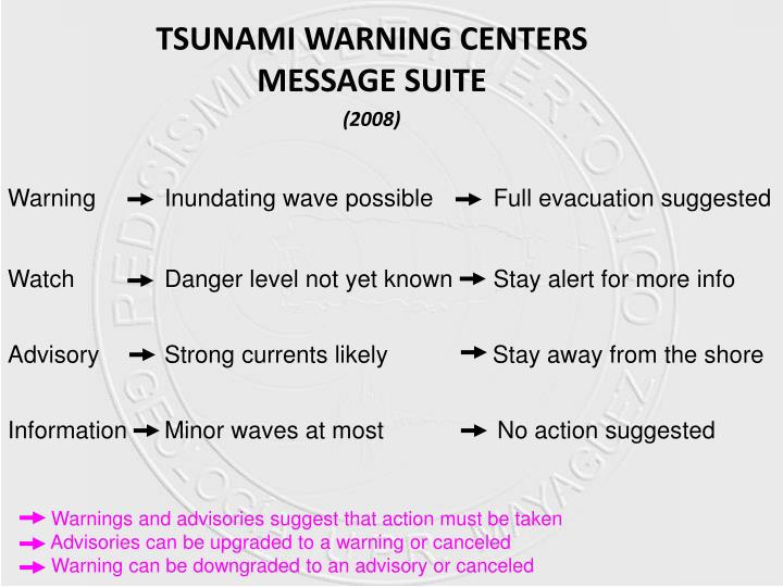 Tsunami warning centers message suite 2008
