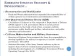 emergent issues in security development