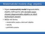 matematick modely diag objekt