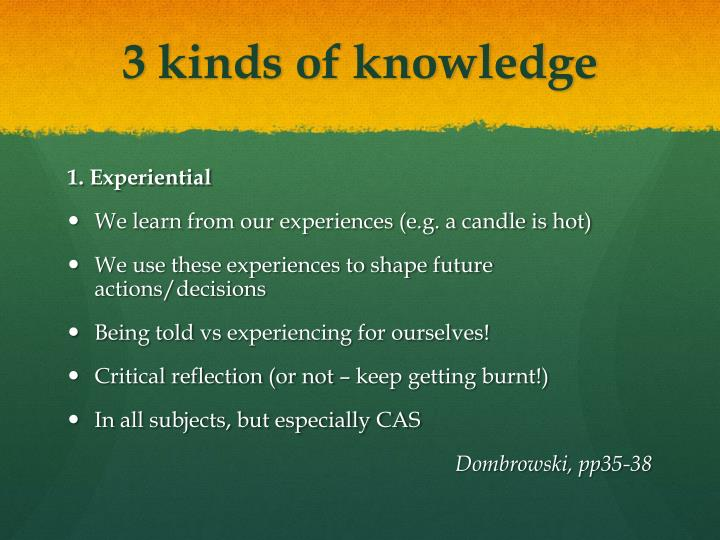 3 kinds of knowledge
