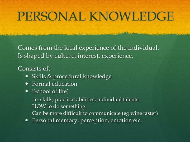 PERSONAL KNOWLEDGE