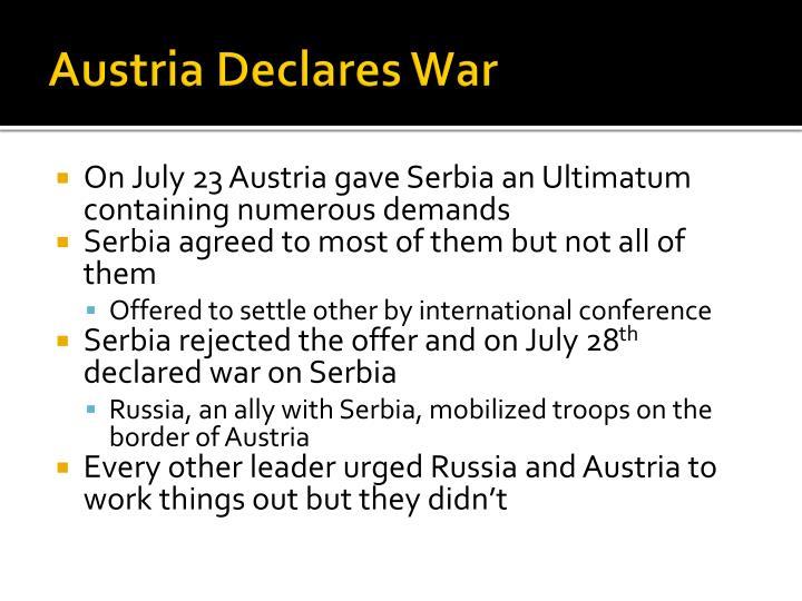 Austria Declares War