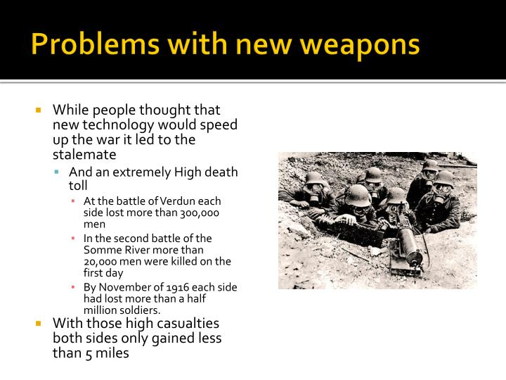 Problems with new weapons