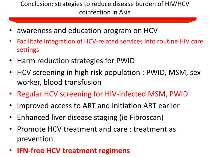 Conclusion: strategies to reduce disease burden of HIV/HCV coinfection in Asia