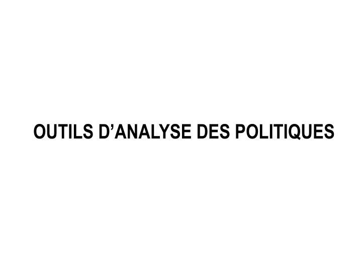 Outils d'analyse des politiques