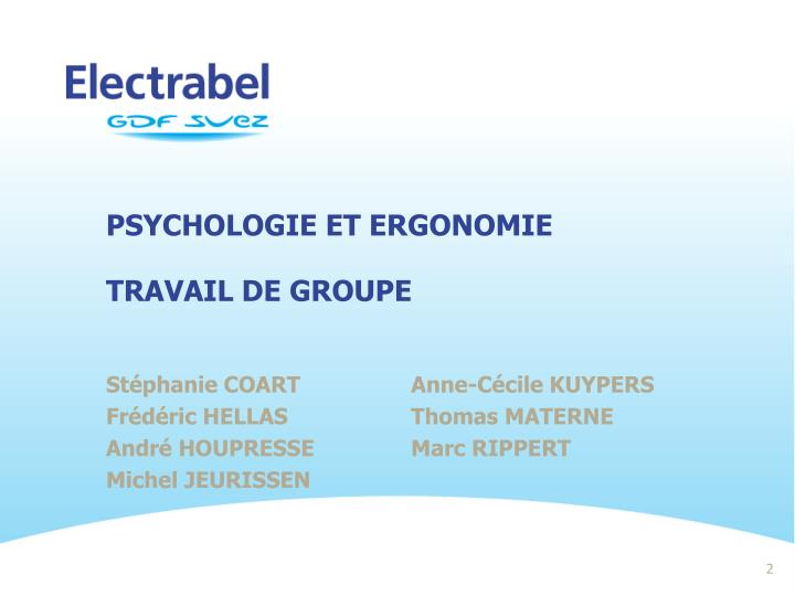 Psychologie et ergonomie travail de groupe