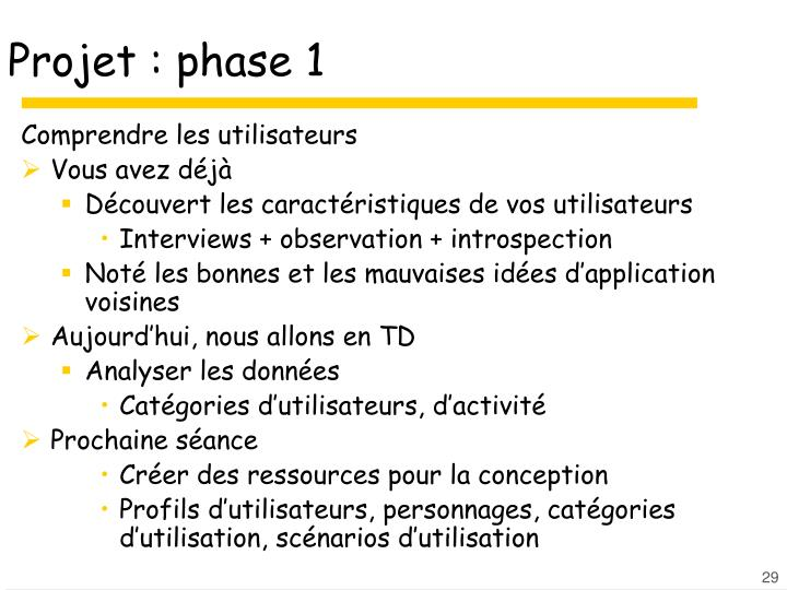 Projet : phase 1