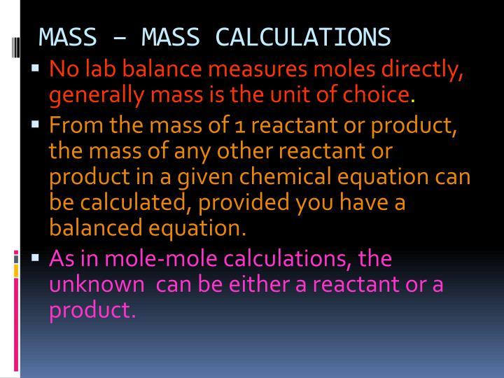 MASS – MASS CALCULATIONS