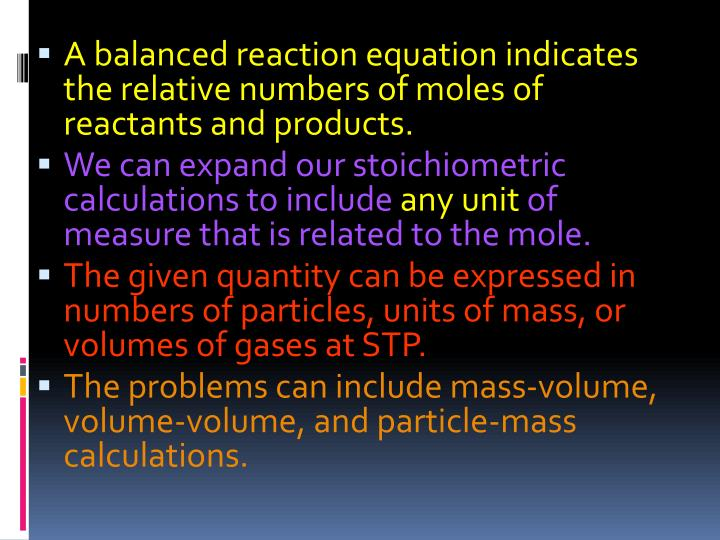 A balanced reaction equation indicates the relative numbers of moles of reactants and products.