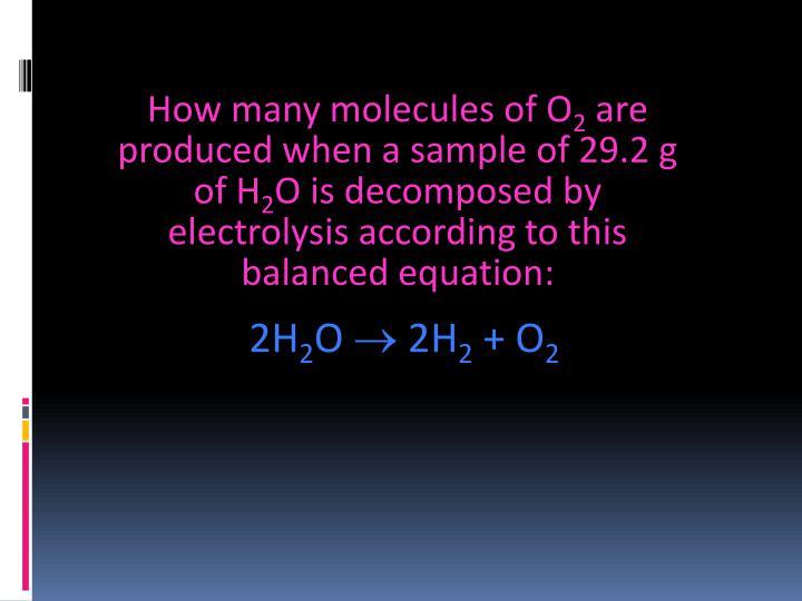 How many molecules of O