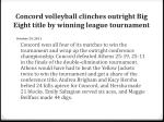 concord volleyball clinches outright big eight title by winning league tournament