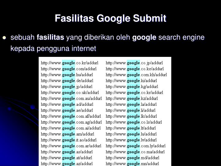 Fasilitas Google Submit
