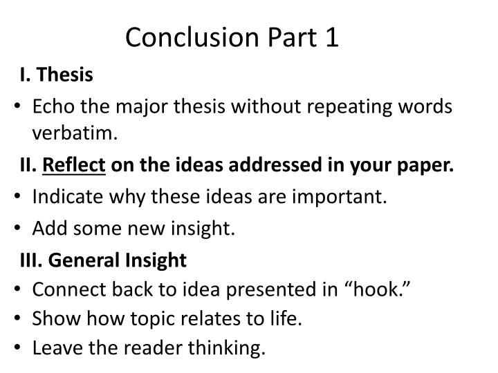 Conclusion Part 1