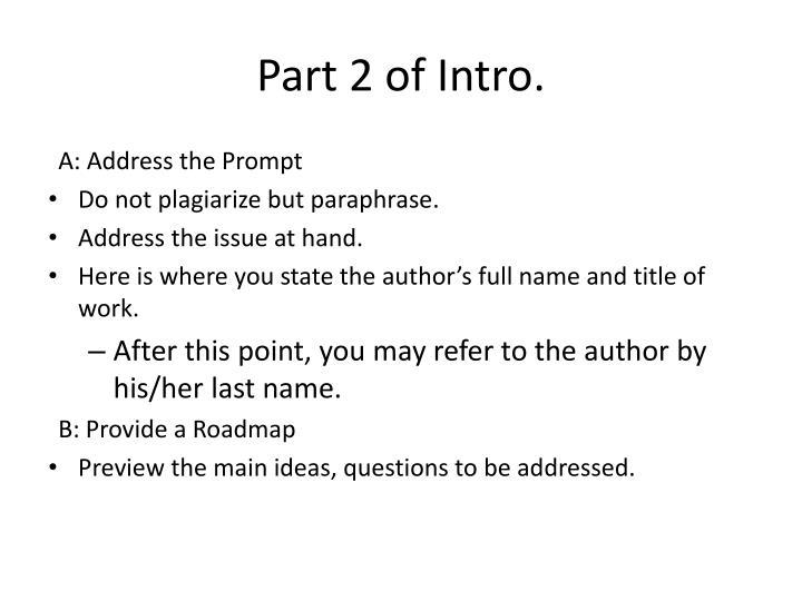 Part 2 of Intro.