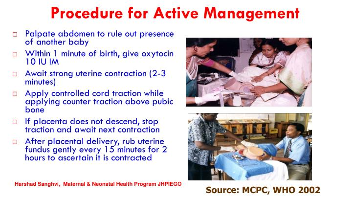 Procedure for Active Management