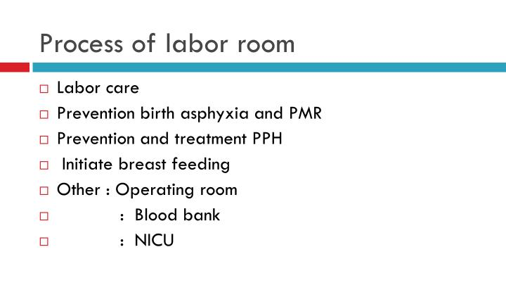 Process of labor room