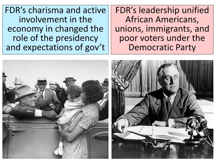 FDR's charisma and active involvement in the economy in changed the role of the presidency and expectations of gov't