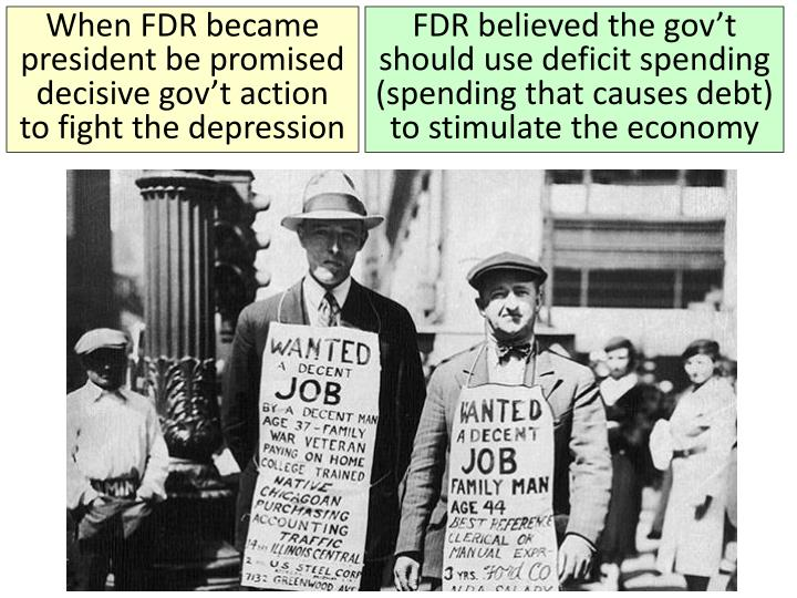 When FDR became president be promised decisive gov't action