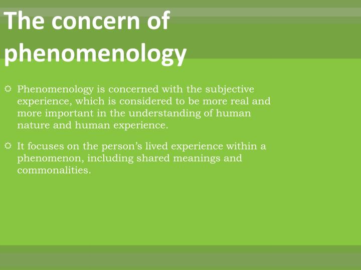 The concern of phenomenology