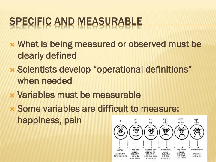 What is being measured or observed must be clearly defined