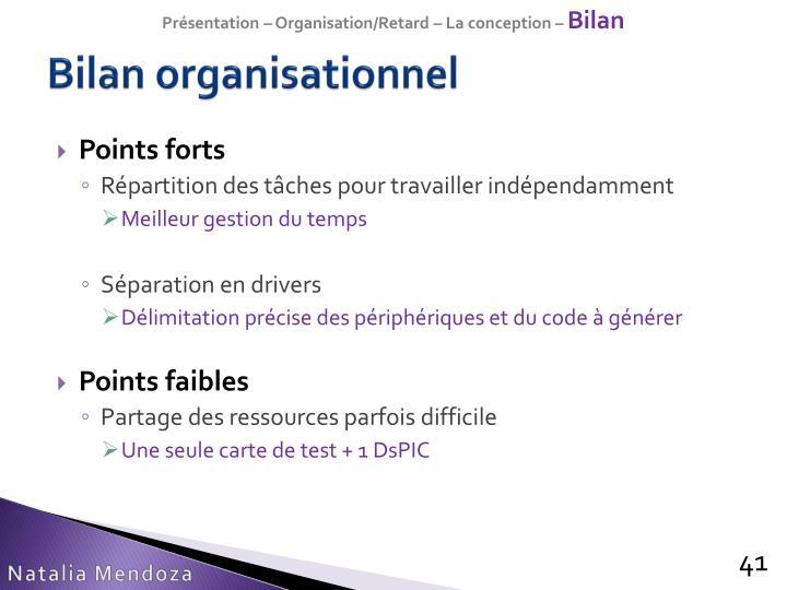 Présentation – Organisation/Retard – La conception –