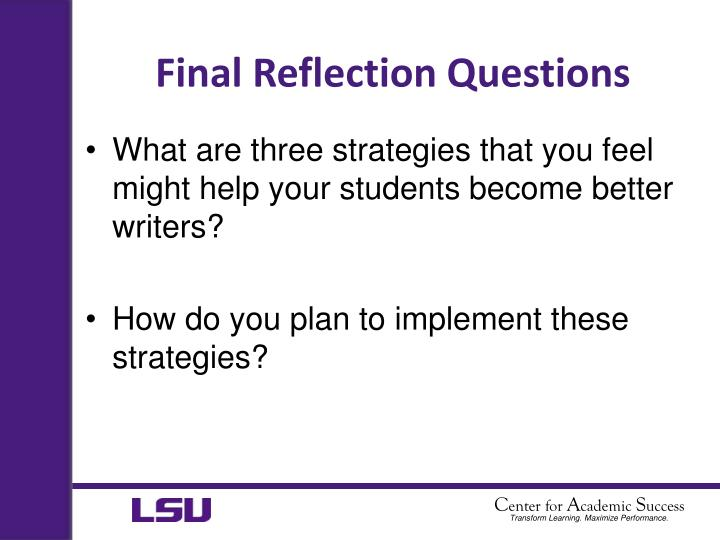 Final Reflection Questions