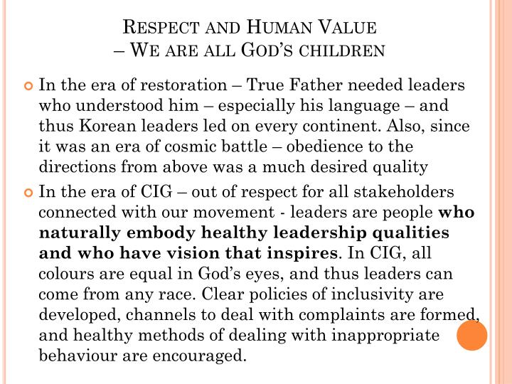 Respect and Human Value