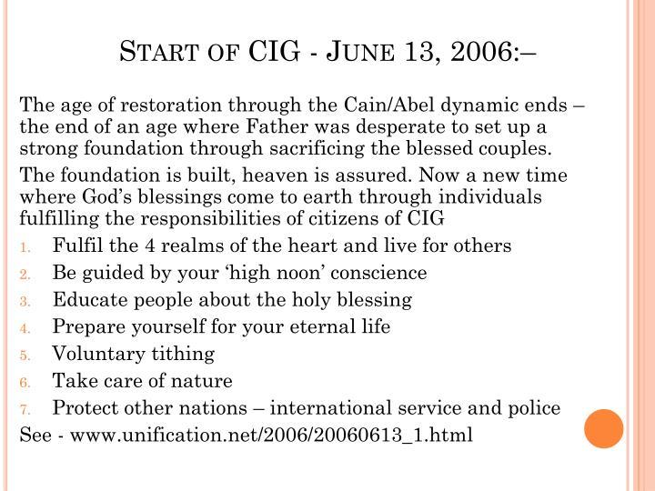 Start of cig june 13 2006