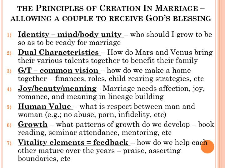 the Principles of Creation In Marriage – allowing a couple to receive God's blessing