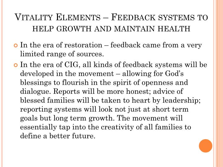 Vitality Elements – Feedback systems to help growth and maintain health