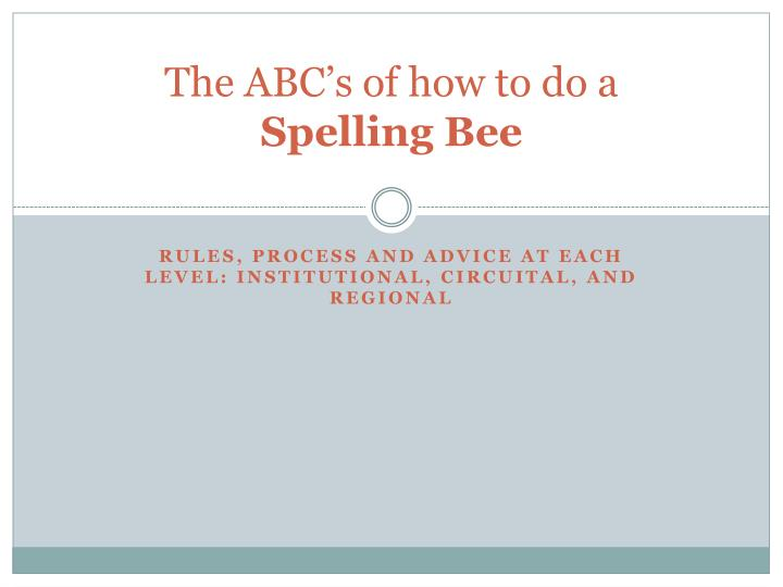 PPT - The ABC\'s of how to do a Spelling Bee PowerPoint Presentation ...