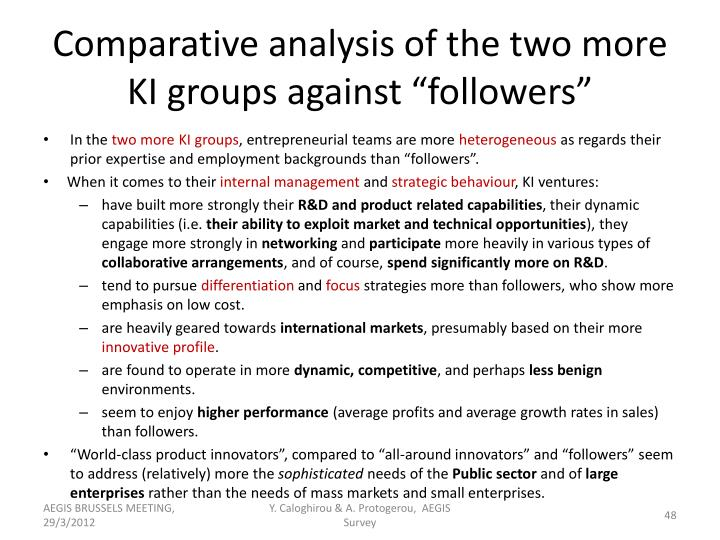"Comparative analysis of the two more KI groups against ""followers"""