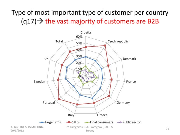 Type of most important type of customer per country (q17)