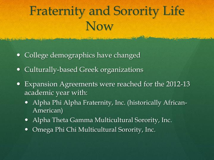 Fraternity and Sorority Life Now